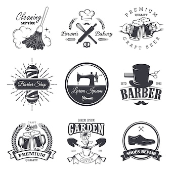 Conjunto de emblemas, etiquetas, insignias y logotipos de talleres antiguos, estilo monocromo