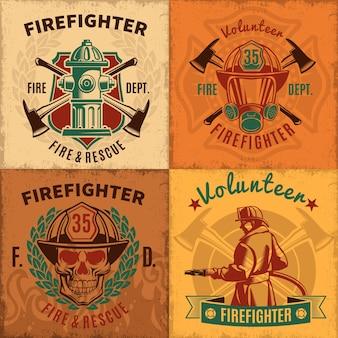 Conjunto de emblemas de extinción de incendios vintage