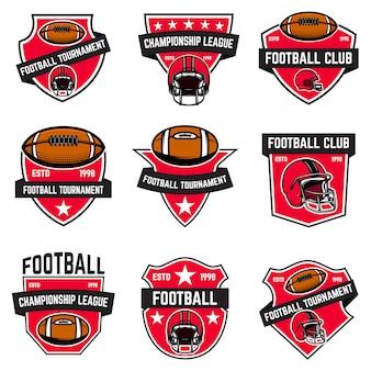 Conjunto de emblemas de fútbol americano. elemento de logotipo, etiqueta, letrero, cartel, menú. ilustración