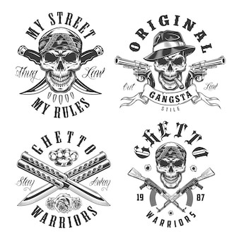 Conjunto de emblemas de gángsters