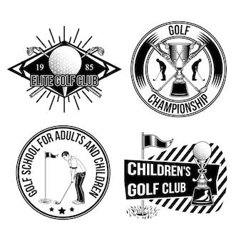 Conjunto de emblemas de golf.
