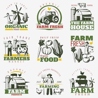 Conjunto de emblemas de granja colorida