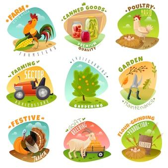 Conjunto de emblemas de granja