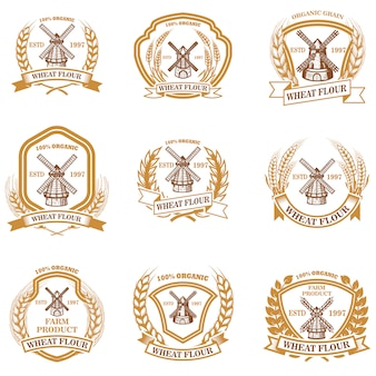 Conjunto de emblemas de harina de trigo. elemento de signo, insignia, etiqueta, cartel, tarjeta. imagen