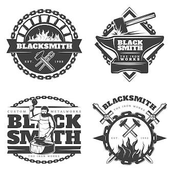 Conjunto de emblemas de herrero vintage monocromo