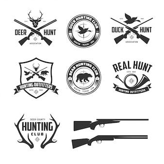 Conjunto de emblemas de insignias de etiquetas relacionadas de caza