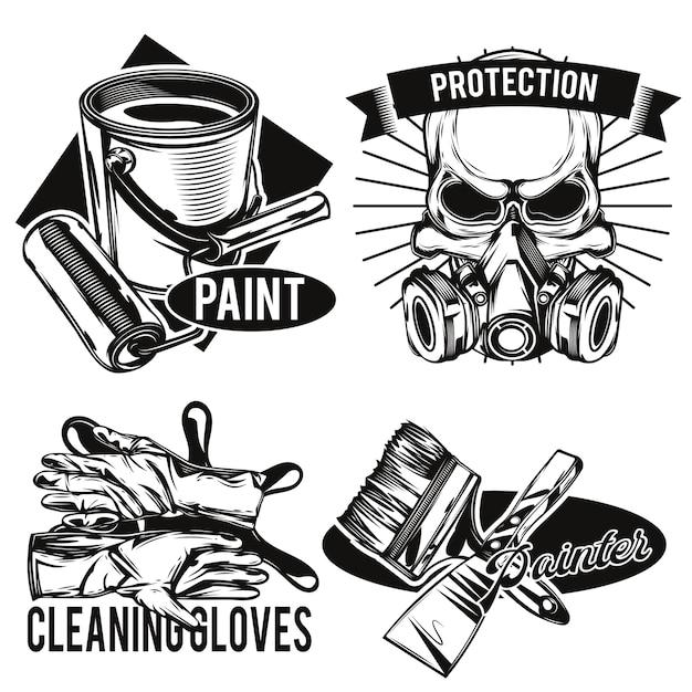 Conjunto de emblemas de las instalaciones del pintor