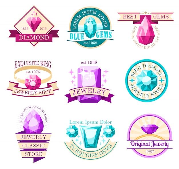 Conjunto de emblemas de joyas