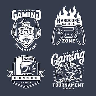 Conjunto de emblemas de juego monocromo vintage