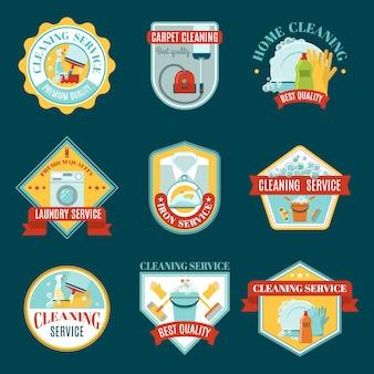 Conjunto de emblemas de limpieza