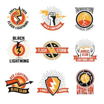 Conjunto de emblemas de logotipo lightning