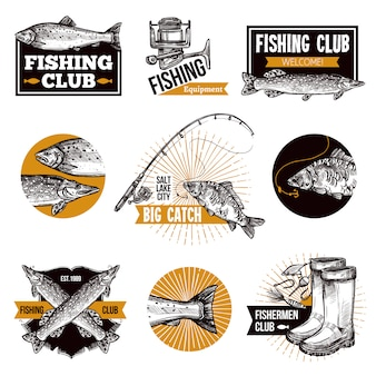Conjunto de emblemas de logotipo de pesca
