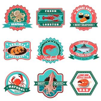 Conjunto de emblemas de mariscos