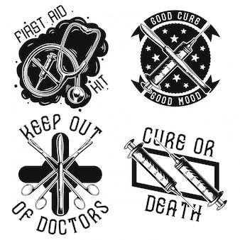Conjunto de emblemas médicos vintage, etiquetas, insignias