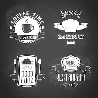Conjunto de emblemas del menú del restaurante.