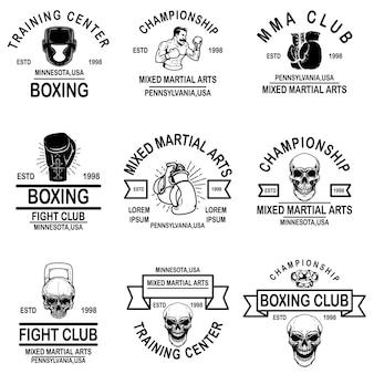 Conjunto de emblemas de mma y club de boxeo. elemento de diseño de logotipo, etiqueta, letrero, cartel, camiseta.