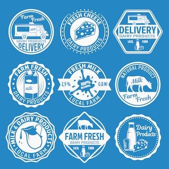 Conjunto de emblemas monocromo de leche