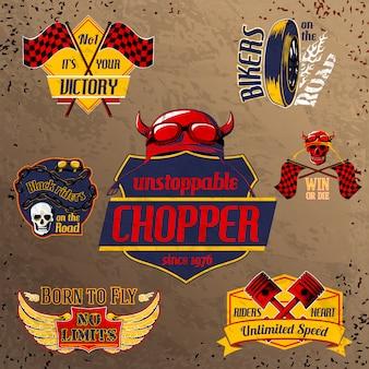 Conjunto de emblemas de moto moto.