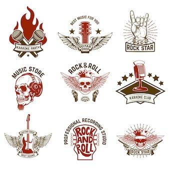 Conjunto de emblemas de música vintage