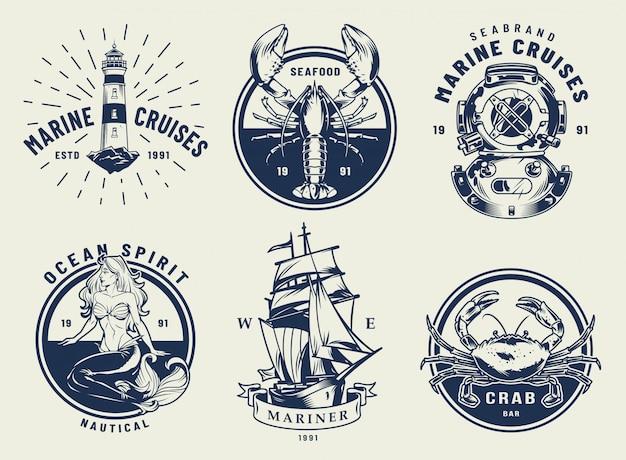 Conjunto de emblemas náuticos monocromo vintage