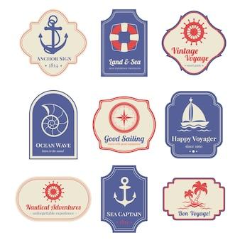 Conjunto de emblemas náuticos
