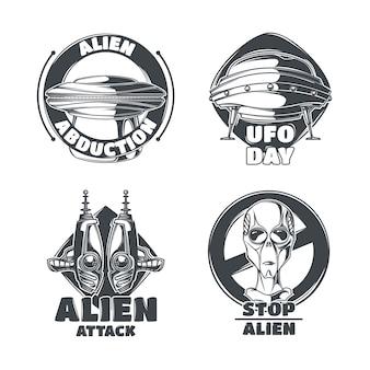 Conjunto de emblemas de ovnis
