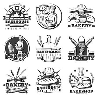 Conjunto de emblemas de panadería vintage