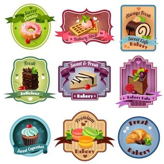 Conjunto de emblemas de panadería
