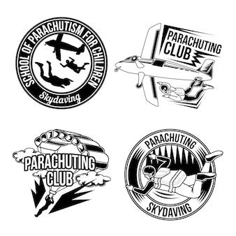 Conjunto de emblemas de paracaidismo, logotipos. aislado en blanco