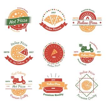Conjunto de emblemas de pizza italiana