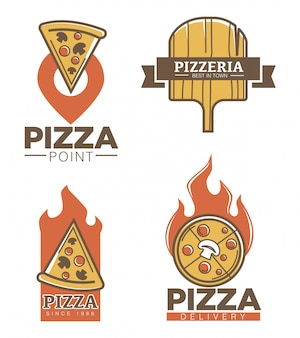 Conjunto de emblemas de pizzería italiana y entrega de pizza.