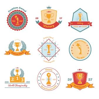 Conjunto de emblemas planos de premios de trofeo