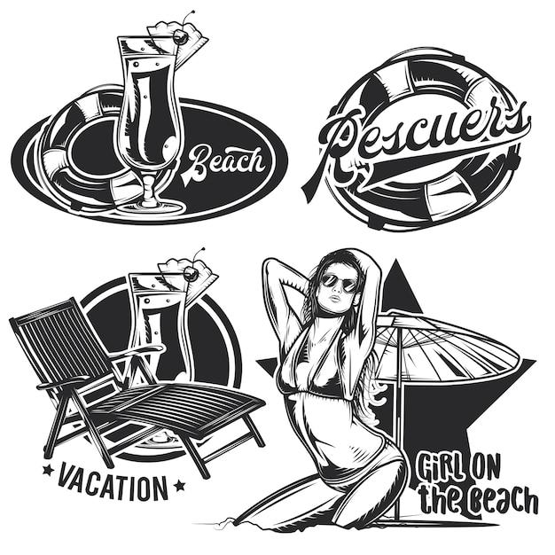 Conjunto de emblemas de playa vintage