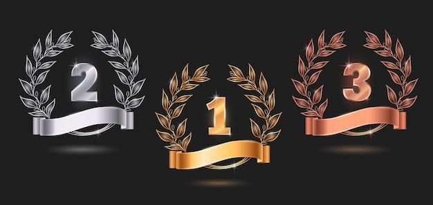 Conjunto de emblemas de premios de concurso.