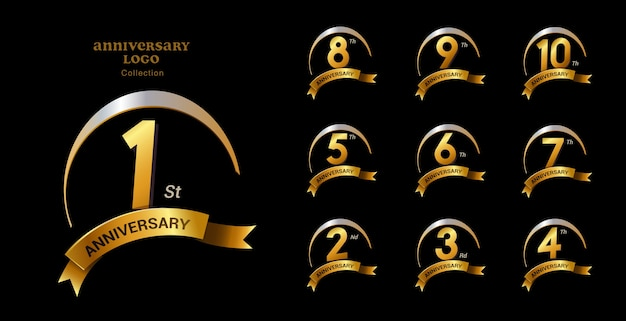 Conjunto de emblemas premium golden anniversay