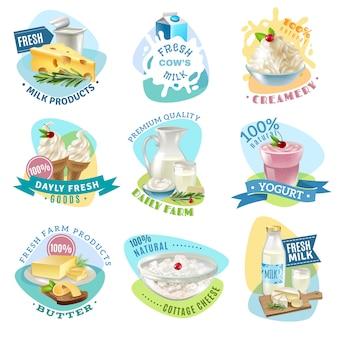 Conjunto de emblemas de productos lácteos