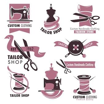 Conjunto de emblemas promocionales sastrería y tienda de moda.