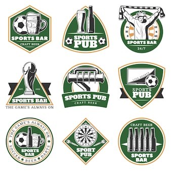 Conjunto de emblemas de pub deportivo vintage colorido