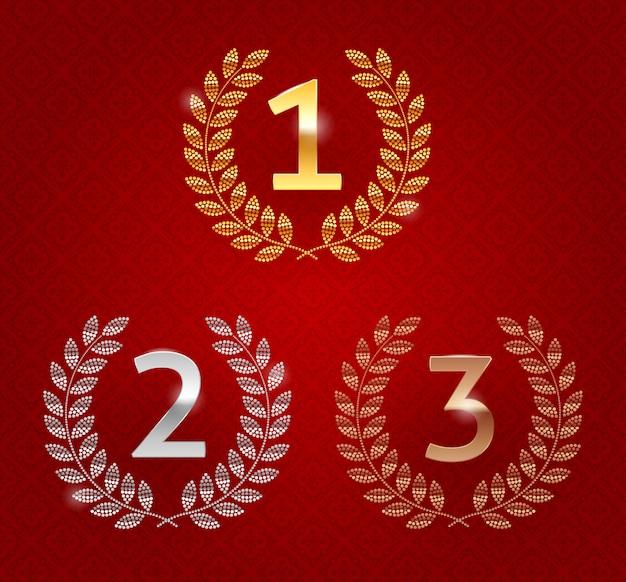 Conjunto de emblemas de rango: oro, plata, bronce. primer lugar, segundo lugar y tercer lugar signos con corona de laurel