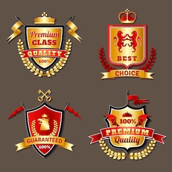 Conjunto de emblemas realistas heráldicos premium