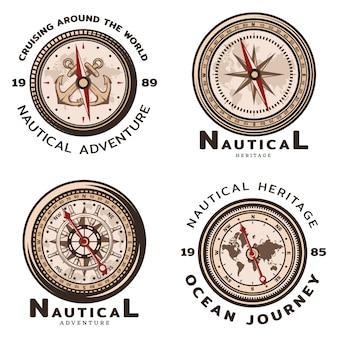 Conjunto de emblemas redondos náuticos de colores vintage