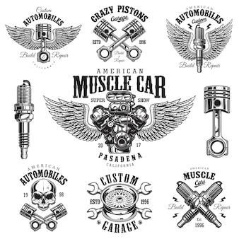 Conjunto de emblemas de reparación de automóviles monocromo vintage