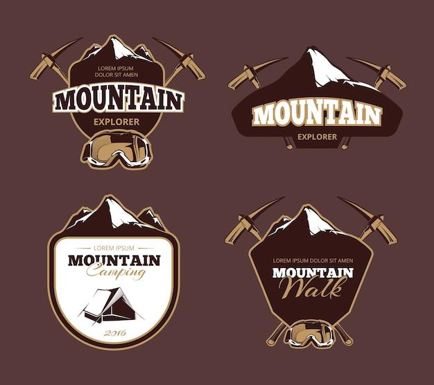Conjunto de emblemas retro de exploración de montaña, etiquetas, insignias, logotipos.