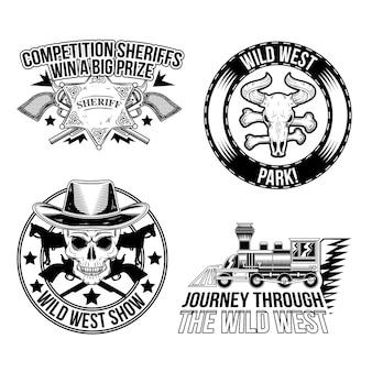 Conjunto de emblemas del salvaje oeste.