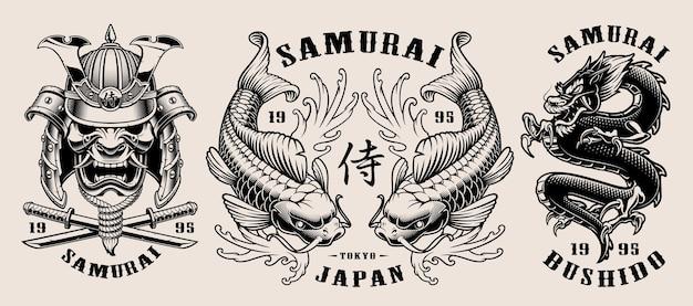 Conjunto de emblemas samurai en blanco y negro