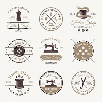 Conjunto de emblemas de sastre de color