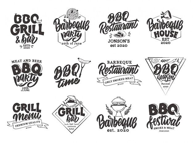 Conjunto de emblemas y sellos de mariscos vintage. insignias de la barra de pescado, pegatinas aisladas.