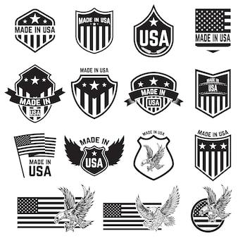 Conjunto de emblemas con signos de estados unidos. elementos para cartel tarjeta, signo ilustración