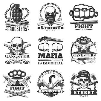 Conjunto de emblemas de street wars gangster