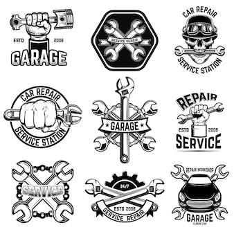 Conjunto de emblemas de taller de reparación de automóviles.